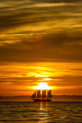 Amazing Sunset Photo Posters - Sailing Yacht Schooner Pride Sunset Poster by Dustin K Ryan
