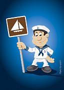 Ramspott Prints - Sailor Cartoon Man Sailboat Sign Print by Frank Ramspott