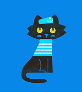Cute Cat Digital Art Posters - Sailor Cat Poster by Budi Satria Kwan