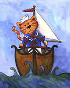 Looking At Camera Paintings - Sailor Cat by Kerrie  Hubbard