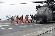 Featured Art - Sailors Board An Mh-53e Sea Dragon by Stocktrek Images