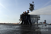 Helping Prints - Sailors Conduct Hose Team Training Print by Stocktrek Images