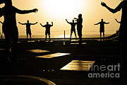 Physical Fitness Framed Prints - Sailors Exercise In The Hangar Bay Framed Print by Stocktrek Images