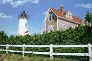Atlantic Beaches Painting Prints - Sailors Gift - Nobska Lighthouse Print by OMalley Keyes