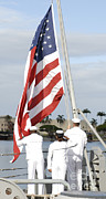 Featured Art - Sailors Hoist The American Flag by Stocktrek Images
