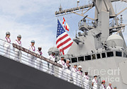 Hickam Posters - Sailors Man The Rails Aboard Uss Poster by Stocktrek Images