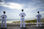 Featured Art - Sailors Man The Rails As The Ship Pulls by Stocktrek Images