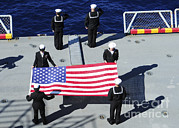 Respect Posters - Sailors Participate In A Burial At Sea Poster by Stocktrek Images