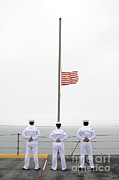 Flagpole Photos - Sailors Pay Tribute Aboard Uss Essex by Stocktrek Images