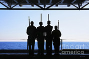 Featured Acrylic Prints - Sailors Practice Color Guard Drills Acrylic Print by Stocktrek Images