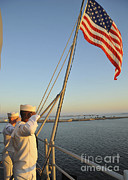 Featured Art - Sailors Salute The National Ensign by Stocktrek Images