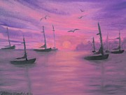 Sails At Dusk Print by Holly Martinson