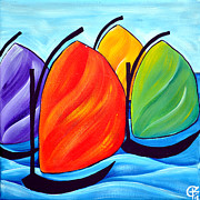 Yellow Sailboats Originals - Sails by Krystal Bilberry