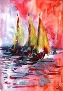 Waterscape Painting Metal Prints - Sails Metal Print by Zaira Dzhaubaeva