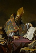 Catholic Icon Prints - Saint Ambrose Print by Claude Vignon