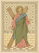 Christian Drawings Framed Prints - Saint Andrew Framed Print by English School