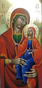 Byzantine Greek Icon Originals - Saint Anna with Virgin Mary by Lefteris Skaliotis