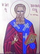 Byzantine Icon Prints - Saint Athanasios The Great Print by Athanasios Skouras