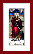 Saint Barbara Prints - Saint Barbara Stained Glass Window Print by Rose Santuci-Sofranko