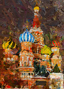 Siberia Digital Art - Saint Basil at Night by Yury Malkov