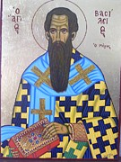 Byzantine Icon Prints - Saint Basil The Great Print by Athanasios Skouras