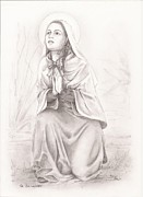 Rosary Drawings Framed Prints - Saint Bernadette of Lourdes Framed Print by Manon  Massari