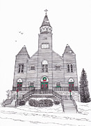 Technical Mixed Media Metal Prints - Saint Bridgets Church at Christmas Metal Print by Michelle Welles