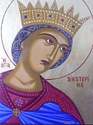 Byzantine Painting Framed Prints - Saint Catherine Framed Print by Athanasios Skouras