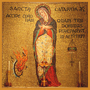 Saint Catherine Posters - Saint Catherine of Alexandria Altar Poster by Philip Ralley