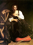 Naturalism Framed Prints - Saint Catherine of Alexandria Framed Print by Caravaggio