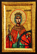 Domincan Framed Prints - Saint Catherine of Alexandria Icon Framed Print by Ryszard Sleczka