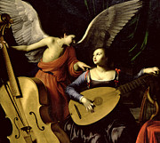 Playing Angels Framed Prints - Saint Cecilia and the Angel Framed Print by Carlo Saraceni