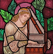 Christian  Glass Art Posters - Saint Cecilia Poster by Gilroy Stained Glass