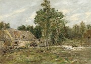 Water Flowing Painting Posters - Saint-Cenery the Mill Poster by Eugene Louis Boudin
