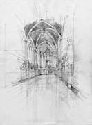 Christian Artwork Drawings - Saint Chapelle interior by Peut Etre