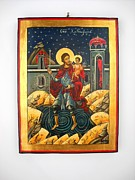 Byzantine Painting Originals - Saint Christopher and the Christ Child Romanian Byzantine Icon handmade painting by Denise ClemencoIcons