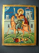 Byzantine Framed Prints - Saint Demeter St. Demetrios St. Dmitry hand painted orthodox holy icon Framed Print by Denise Clemenco