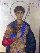 Byzantine Icon. Prints - Saint Demetrius of Thessaloniki Print by Athanasios Skouras