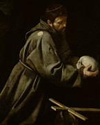 Michelangelo Painting Framed Prints - Saint Francis in Meditation Framed Print by Michelangelo Merisi da Caravaggio