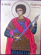 Byzantine Icon. Prints - Saint George Print by Athanasios Skouras