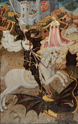 St George Painting Framed Prints - Saint George Killing the Dragon - 1434-35 Framed Print by Bernat Martorelli