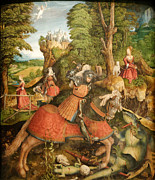 Knights Paintings - Saint George Killing the Dragon - 1515 by Leonhard Beck
