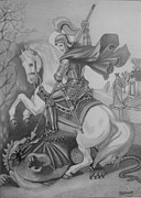 Orthodox Drawings Prints - Saint George Print by Subhash Mathew