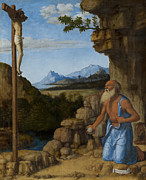Catholic Icon Painting Framed Prints - Saint Jerome in the Wilderness Framed Print by Giovanni Battista Cima da Conegliano
