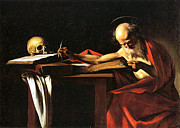 Red Robe Framed Prints - Saint Jerome Writing Framed Print by Caravaggio
