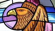 Divine Glass Art Framed Prints - Saint John Eagle  Framed Print by Gilroy Stained Glass