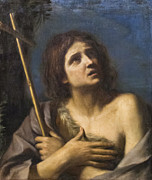 Guercino Framed Prints - Saint John the Baptist by il Guercino Framed Print by Stefano Baldini