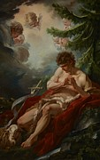 Heads Painting Framed Prints - Saint John the Baptist Framed Print by Francois Boucher