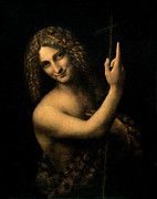 Religious Art Painting Framed Prints - Saint John the Baptist Framed Print by Leonardo da Vinci