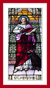 St John The Evangelist Posters - Saint John the Evangelist Stained Glass Window Poster by Rose Santuci-Sofranko